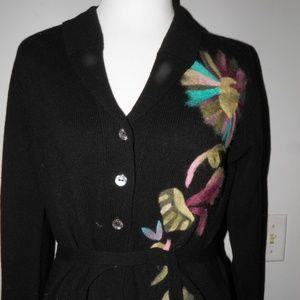 Oilily Black Floral Merino Wool Cardigan L
